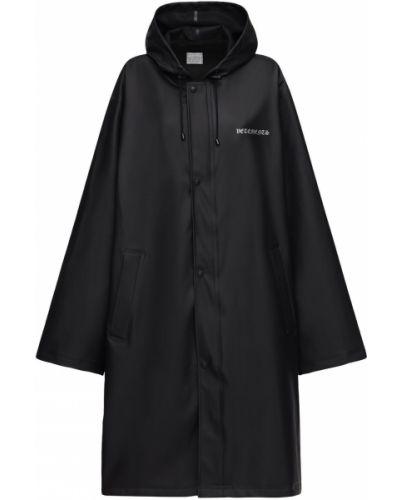 Czarny płaszcz przeciwdeszczowy z kapturem z nylonu Vetements