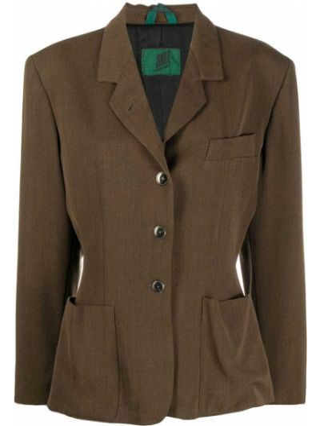 Шерстяная коричневая длинная куртка с отворотом с карманами Jean Paul Gaultier Pre-owned