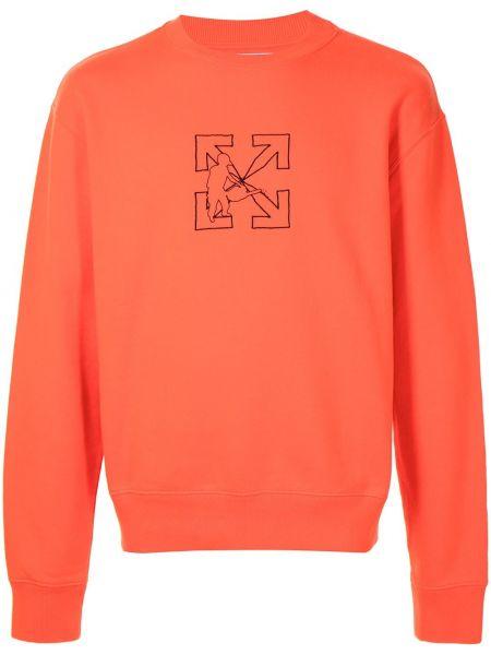 Bawełna z rękawami pomarańczowy bluza Off-white