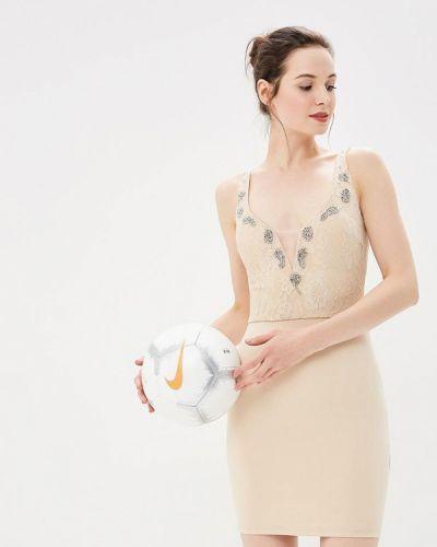 Коктейльное платье осеннее бежевое Soky & Soka
