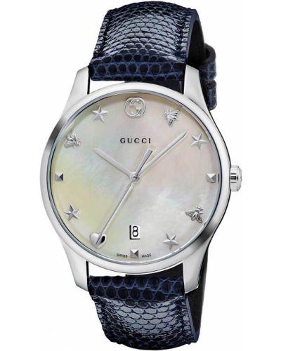 Белые с ремешком кожаные часы на кожаном ремешке Gucci