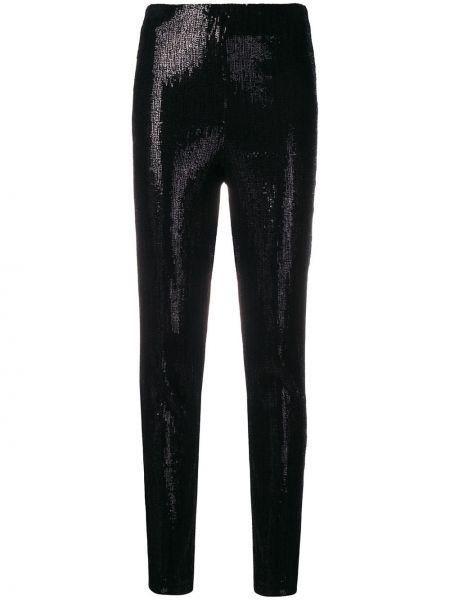 Czarne spodnie z wysokim stanem z wiskozy Plein Sud