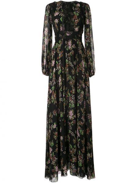 Шелковое кружевное черное платье макси Giambattista Valli