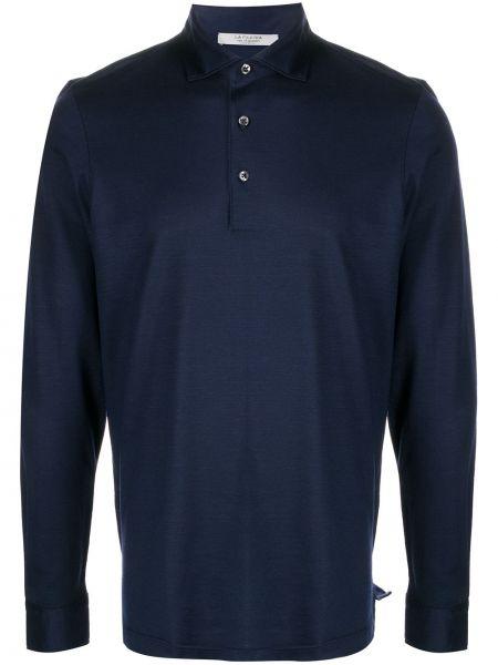 Синяя прямая классическая рубашка с воротником на пуговицах La Fileria For D'aniello