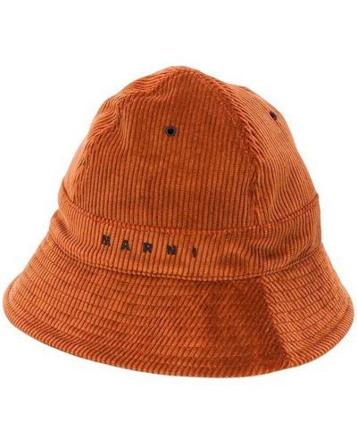 Pomarańczowy kapelusz casual pikowany Marni