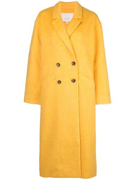 Желтое пальто классическое с капюшоном Cinq A Sept