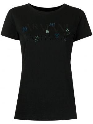 Черная прямая футболка с вырезом с короткими рукавами Armani Exchange