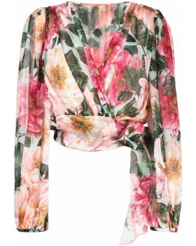 С рукавами розовая шелковая блузка Dolce & Gabbana