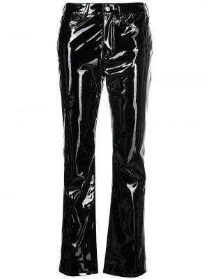 Прямые кожаные черные брюки Simon Miller