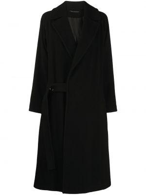 Czarny długi płaszcz wełniany Ys