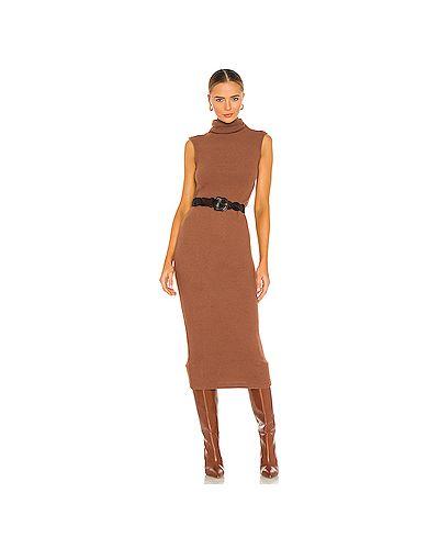 Коричневое платье в рубчик из вискозы с поясом Enza Costa