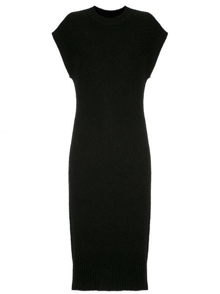 Черное платье миди в рубчик без рукавов с вырезом Osklen