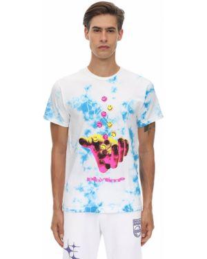 Prążkowany biały t-shirt bawełniany Club Fantasy