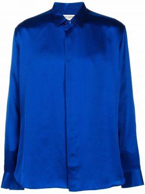 Koszula z jedwabiu - niebieska Saint Laurent