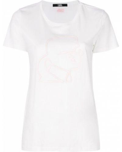 Белая хлопковая футболка Karl Lagerfeld