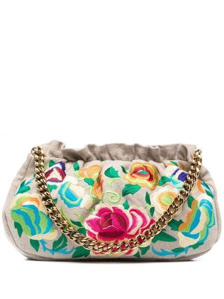 Кожаная сумка на цепочке с вышивкой с карманами Etro