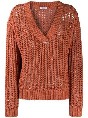 Ажурный оранжевый длинный свитер с V-образным вырезом Brunello Cucinelli
