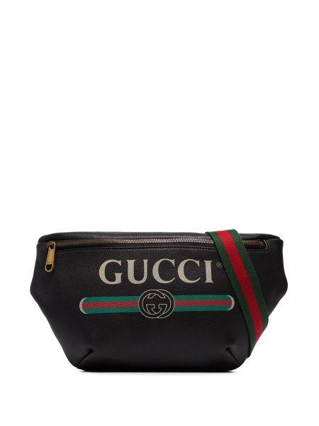 Поясная сумка с логотипом - черная Gucci