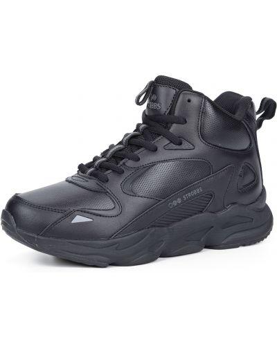 Кожаные черные кроссовки на шнуровке Strobbs