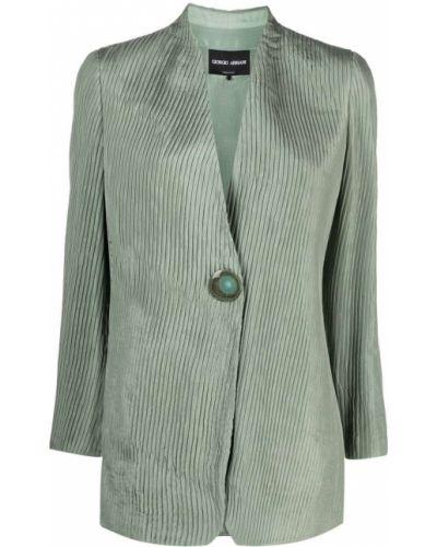 Шелковый зеленый удлиненный пиджак на пуговицах Giorgio Armani