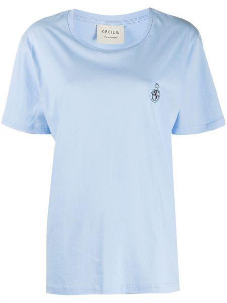 Хлопковая синяя футболка с вышивкой с круглым вырезом Cecilie Copenhagen