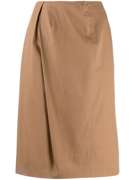Прямая юбка миди со складками в рубчик Maison Martin Margiela Pre-owned