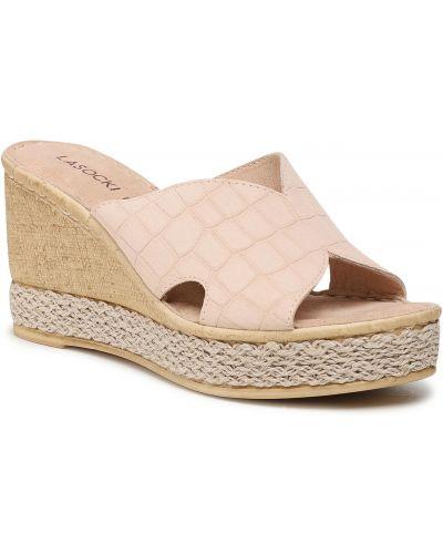 Sandały espadryle - beżowe Lasocki