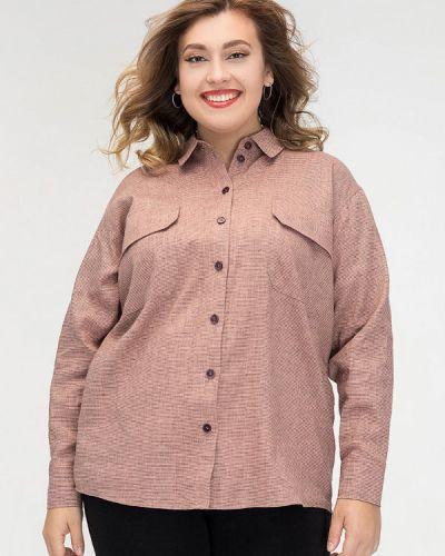 Розовая с рукавами рубашка авантюра Plus Size Fashion