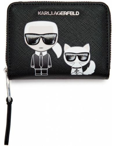 Кошелек черный с рисунком Karl Lagerfeld