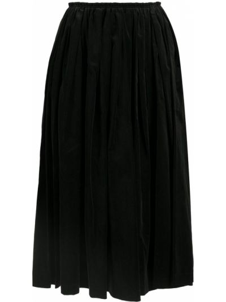 Ватная бархатная черная юбка миди Comme Des Garçons