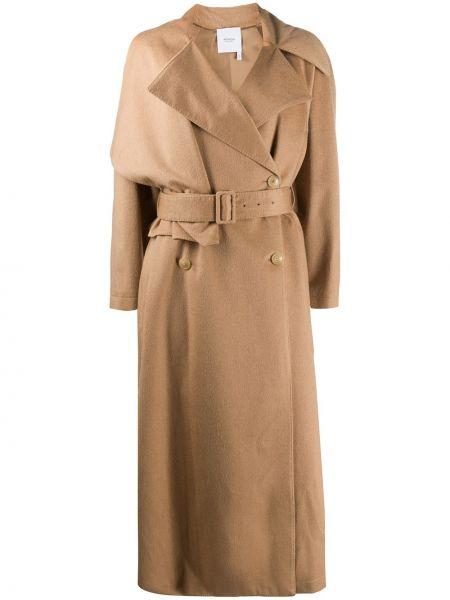 Шерстяное бежевое длинное пальто для полных Agnona