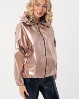 Кожаная куртка с капюшоном - бежевая Wisell