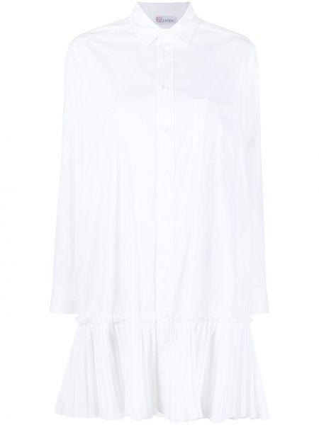 С рукавами белое платье макси с воротником Red Valentino