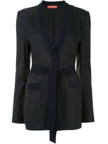 Серый шерстяной пиджак с запахом с поясом Altuzarra