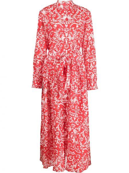 Sukienka długa z długimi rękawami z jedwabiu zapinane na guziki Saloni