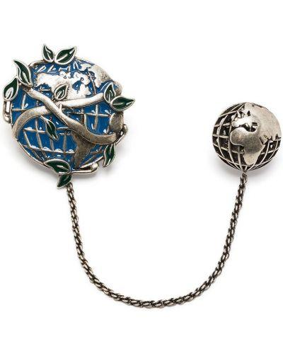 Синяя брошь металлическая Tateossian