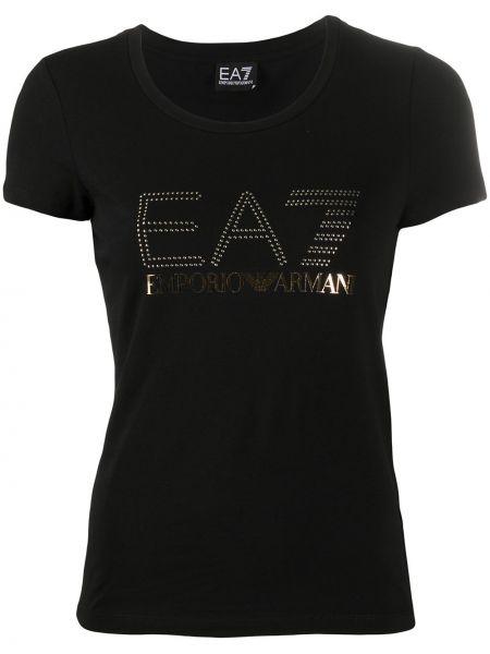 Хлопковая прямая черная футболка с круглым вырезом Ea7 Emporio Armani