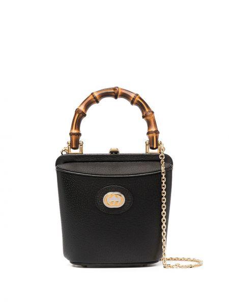 Skórzany z paskiem czarny torba kosmetyczna Gucci
