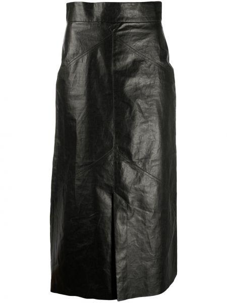 Прямая с завышенной талией юбка миди на молнии с разрезом Isabel Marant