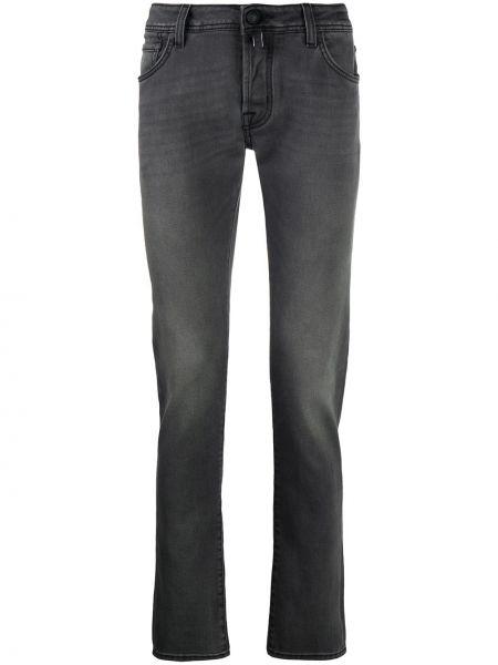Хлопковые серые джинсы-скинни с нашивками Jacob Cohen