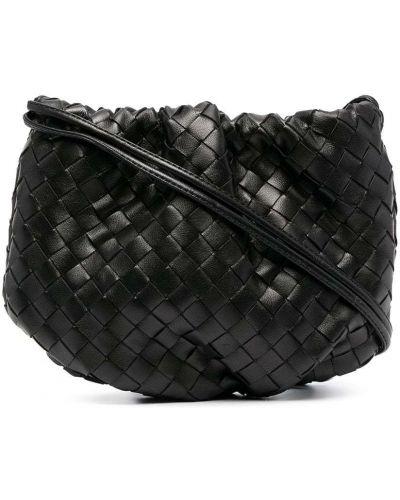 Золотистая кожаная черная сумка через плечо Bottega Veneta