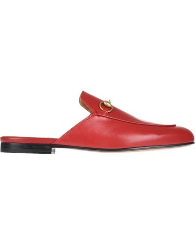 Кожаные мюли - красные Gucci