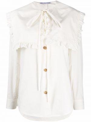 Biała biała koszula z długimi rękawami Rejina Pyo