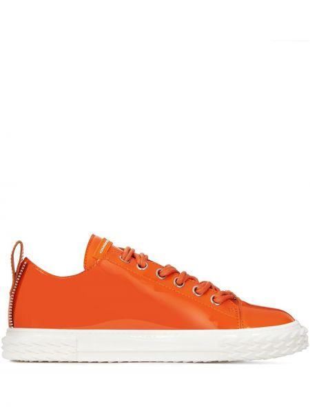 Koronkowa biały sneakersy z prawdziwej skóry zasznurować Giuseppe Zanotti