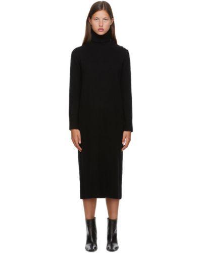 Черное платье макси с воротником с длинными рукавами с манжетами Max Mara