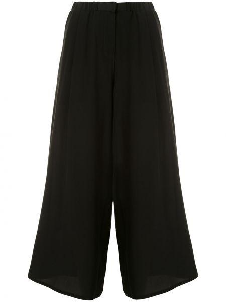 Czarne spodnie z paskiem z jedwabiu Dusan