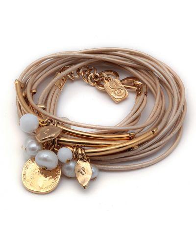 Кожаный браслет с жемчугом бежевый Sea