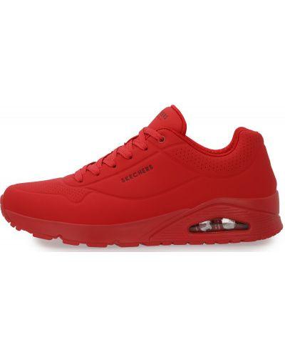 Красные кожаные кроссовки на шнуровке Skechers