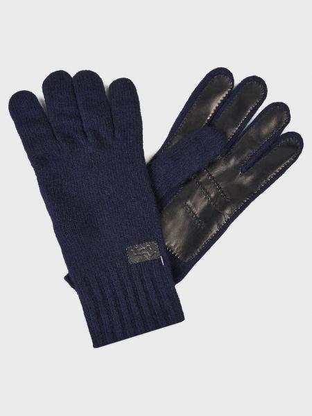 Синие кожаные перчатки со вставками Harmont&blaine