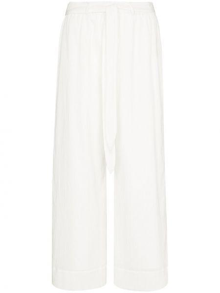 Брючные хлопковые прямые белые укороченные брюки Peony